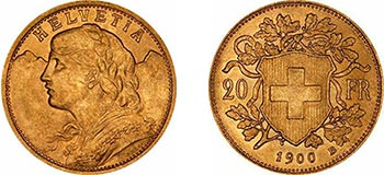 A gold 20 franc from Switzerland - issued on 1900