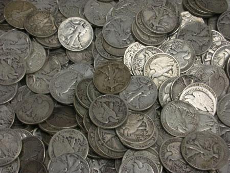 A collection of half dollars from Atlanta Gold and Coin in Atlanta, GA