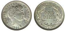 An image of a Barber dime