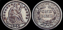 An image of a Seated Liberty Dime