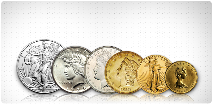 Six coins in varying sizes and colors representing coins bought by Atlanta coin dealers Atlanta Gold & Coin Buyers in Johns Creek, GA