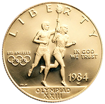 An Olympic commemorative coin from 1984