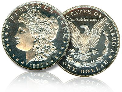 The front and back of a 1895 P Morgan Silver Dollar