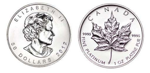 Close up of the front and back of a Canadian Platinum Maple Leaf Coin