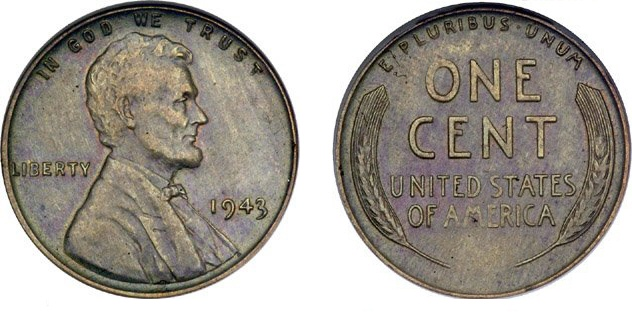 Off metal one cent coin