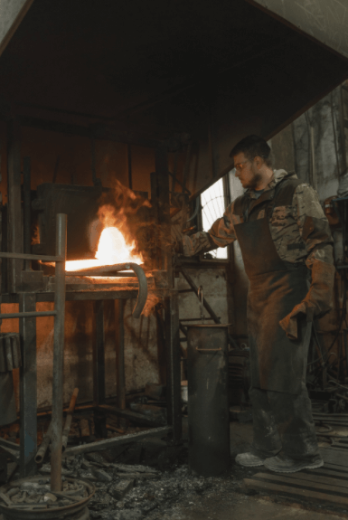 A man melting down metals